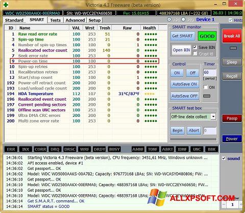 צילום מסך Victoria Windows XP