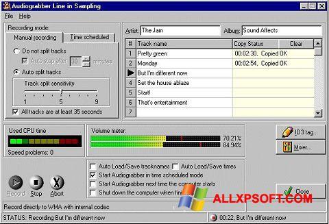 צילום מסך Audiograbber Windows XP