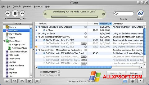 צילום מסך iTunes Windows XP
