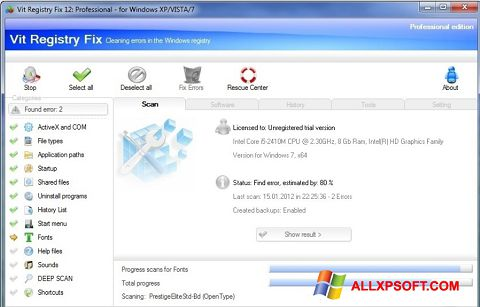 צילום מסך Vit Registry Fix Windows XP