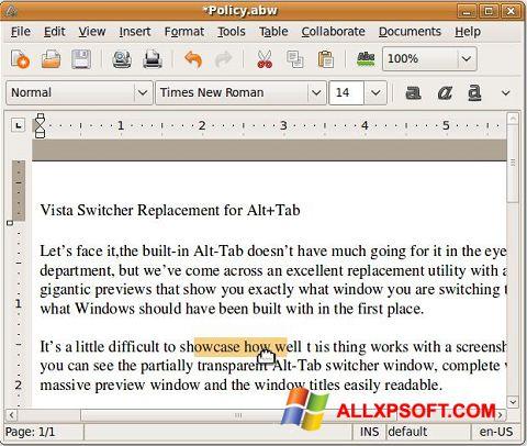 צילום מסך AbiWord Windows XP