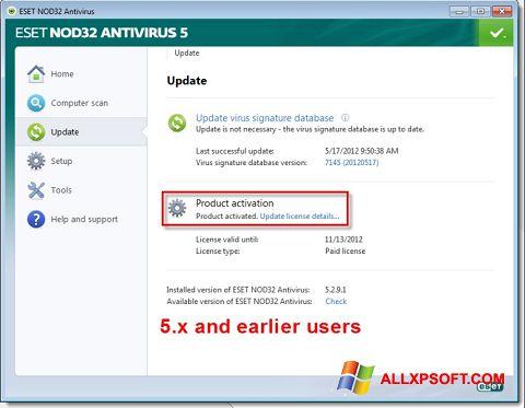 צילום מסך ESET NOD32 Windows XP