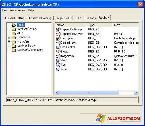 צילום מסך TCP Optimizer Windows XP