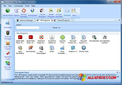 צילום מסך Revo Uninstaller Pro Windows XP